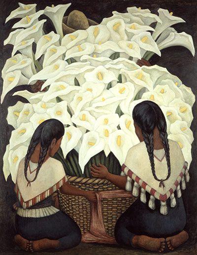 Credit: © 2011 Banco de México Diego Rivera Frida Kahlo Museums Trust, Mexico, D.F. / DACS. Rivera, Calla Lily Vendors, 1943