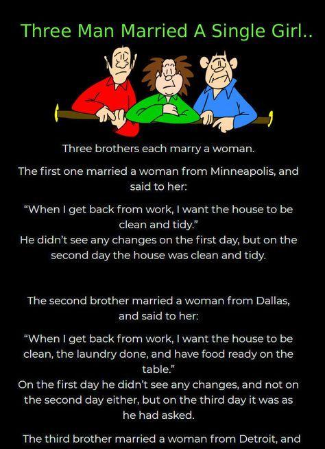 Three Man Married A Single Girl Funny Jokes Funny Story Funny