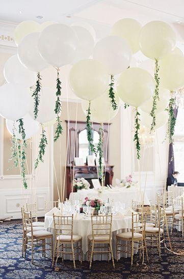white wedding balloons with greenery