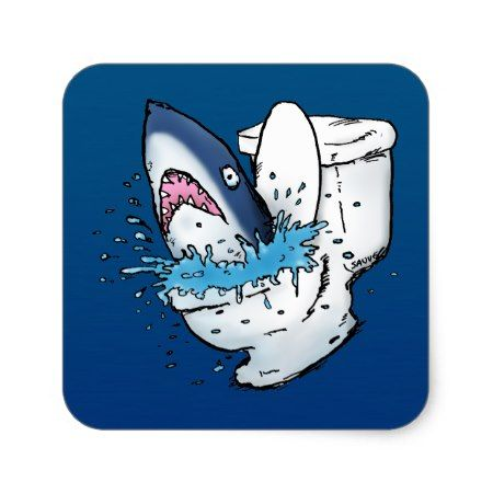 Toilet Shark Funny Blue Cartoon Square Sticker - tap, personalize, buy right now!
