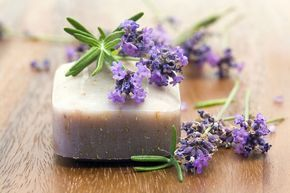 How to Make Simple Soaps from Mother Earth Living. Glycerine base with essential oils and herbs. Recipes for lavender oat, peppermint, rosemary eucalyptus, citrus lemongrass, and lavender chamomile.