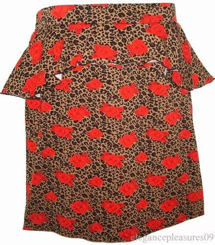 3X 2X PEPLUM PENCIL DRESS SKIRT~leopard/rose print~FITTED~RUFFLE & TORRID RING