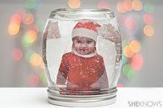 DIY photo snow globe in a jar