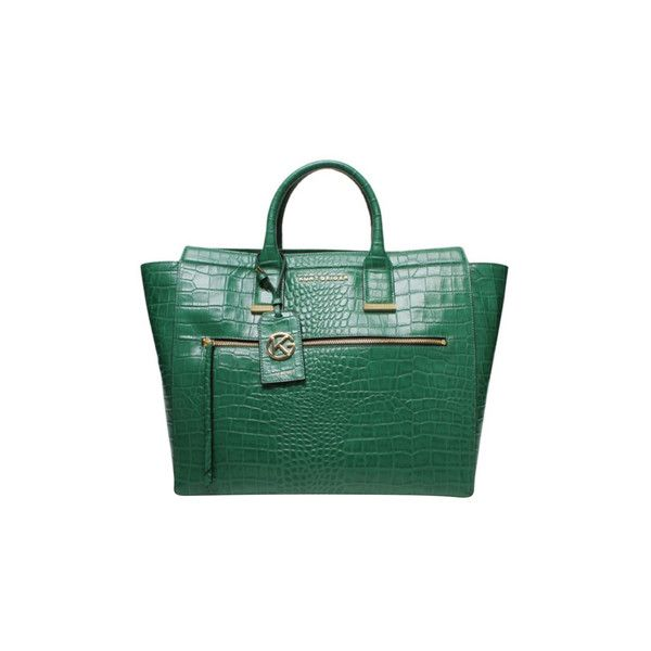 """Pre-owned """"""""Croc Beatrice Tote Bag"""""""" ($340) ❤ liked on Polyvore featuring bags, handbags, tote bags, green, tote purses, handbags tote bags, green tote handbag, crocodile purse and croc tote"""