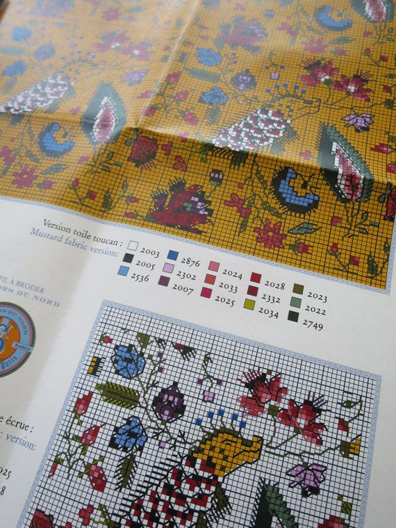 A beautiful Sajou cross stitch chart for the Toile du Jouy Les Indiennes, in two designs.  The size of motifs are 60 x 65 points, which when sewn on 12 count embroidery linen measure 10 x 10.8 cm. They are repeatable design, so you can make them up design on a larger scale of you wish.  The embroideries can be worked into 12 count Sajou embroidery linens, the chart shows both the mustard and the off white.  The les indiennes design is one of several historical prints available for cross…
