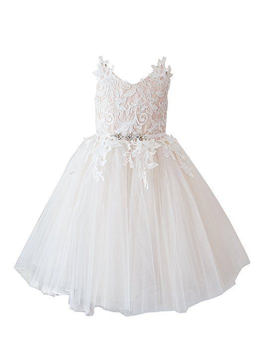 fd9ba89fb83 Amazon.com  Miama Ivory Lace Tulle Straps Wedding Flower Girl Dress Junior  Bridesmaid Dress  Clothing