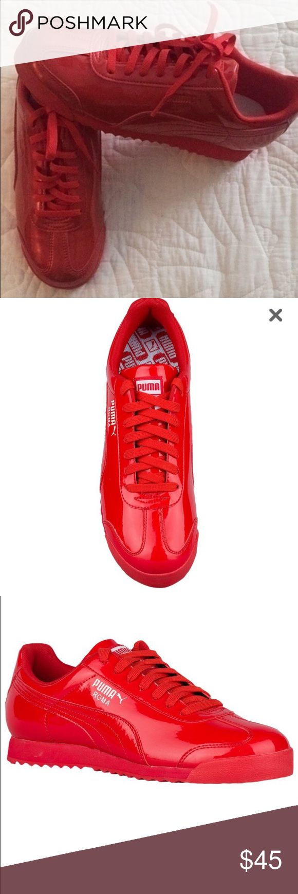 Red Puma Roma's (Sneakers) Size: 6.5 (Boys) Very comfy! Brand new, never worn. If you like out of the box sneakers, try these! Lovely color. #sneakers #puma #pumaroma #roma #fashion #red ❤️❤️❤️ Puma Shoes Sneakers