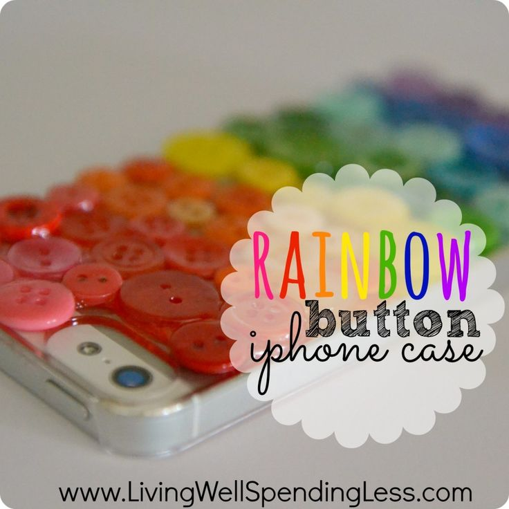 DiY Rainbow Button iPhone Case.  So cute!  Make a custom iphone cover using a clear $5 cover and some spare buttons.