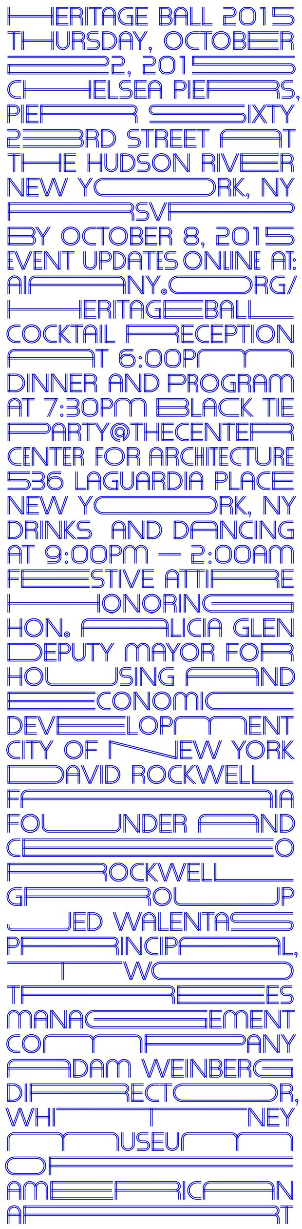 Heritage Ball by Pentagram - Like architecture in the city, the typography fills every available area.