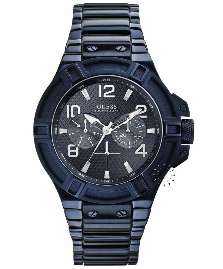 GUESS Sporty Men's Multifunction Blue Stainless Steel Bracelet Τιμή: 209€ http://www.oroloi.gr/product_info.php?products_id=35137