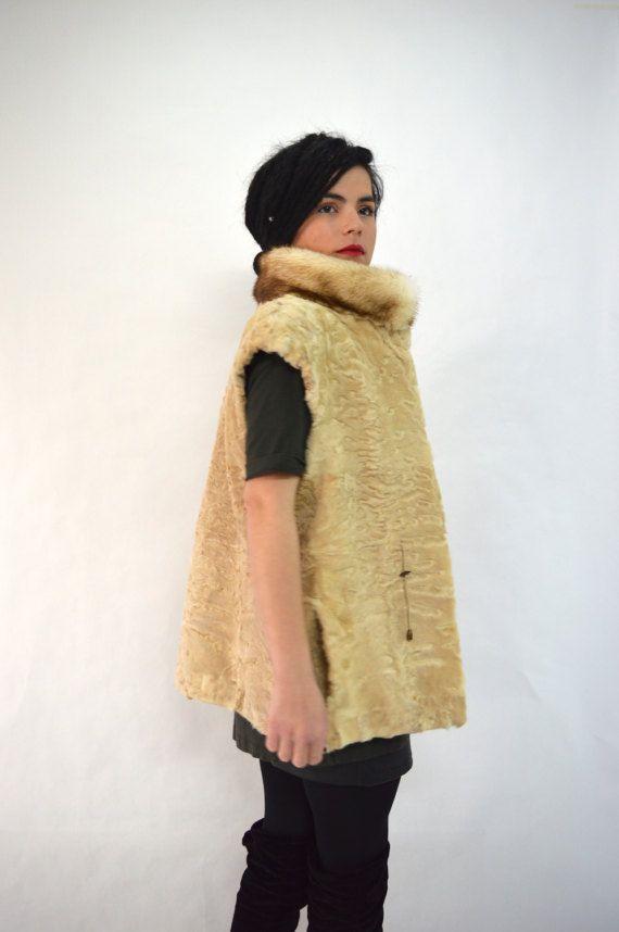 Real Persian fur vest beige fox fur  Swakara fur vest by BeFur