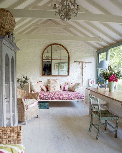 French cottage: Cottages Style, Idea, Country Cottages, Sunrooms, Sun Porches, Cottages Decor, Ceilings, French Cottages, Sun Rooms