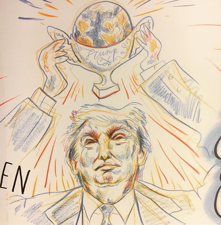 """""""What does Trumps victory mean for #security in the world?"""" - drawn live on location with @wandverslag at the #isga conference in Den Haag last week @universiteitleiden #visualminutes #graphicrecording #Trump #conference #conferencedrawing #livedrawing #liveportrait #visualrecording #portrait #illustration #menah #drawing #event #election2016 #comic #sketch #internationalsecurity #aaaha #wandverslag #presidenttrump #pensforfreedom #donaldtrump"""