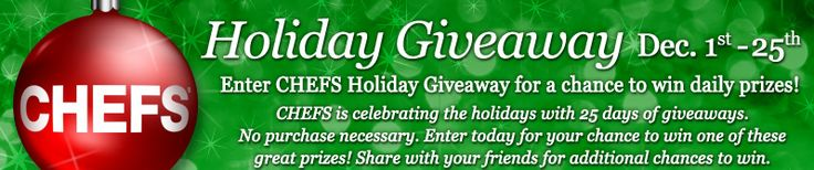 CHEFS Catalog 2013 Holiday Giveaway WIN a different prize DAILY Enter DAILY-Ends 12/25
