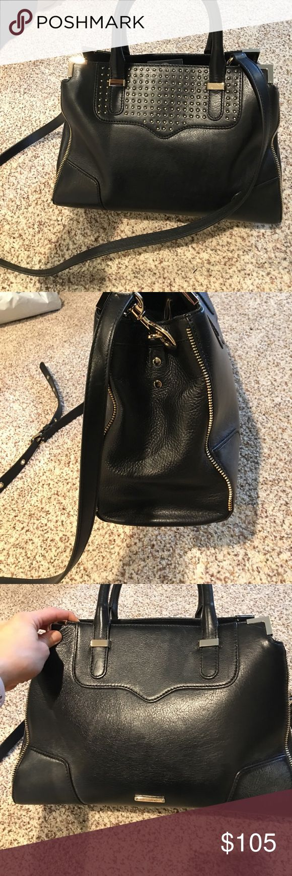 Rebecca Minkoff studded crossbody/shoulder handbag Purchased From Nordstrom's on anniversary sale, normally $300, I paid $220. It's perfect exterior and interior except for bottom of bag which had some white fog on it? I think it just needs a little leather cleaner or polish. I haven't tried fixing it. It's a gorgeous bag with zipper details on side and studs on front. Prices well and pictures to show bottom of bag. Ask any questions! Dust bag is included!💗 Rebecca Minkoff Bags Crossbody…