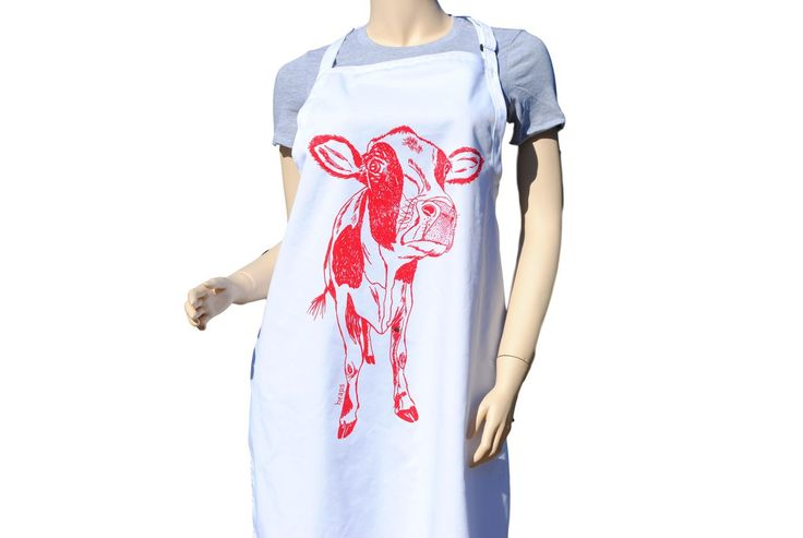 FREE SHIPPING - Kitchen Apron - BBQ - Chef - Gifts for Mom Bridal Shower Teacher - Red Cow  #apron #aprons #kitchenaprons #kitchenapron #bbqapron #bbqaprons #cooksapron #cooksaprons #cooks #chef #baking #COWS