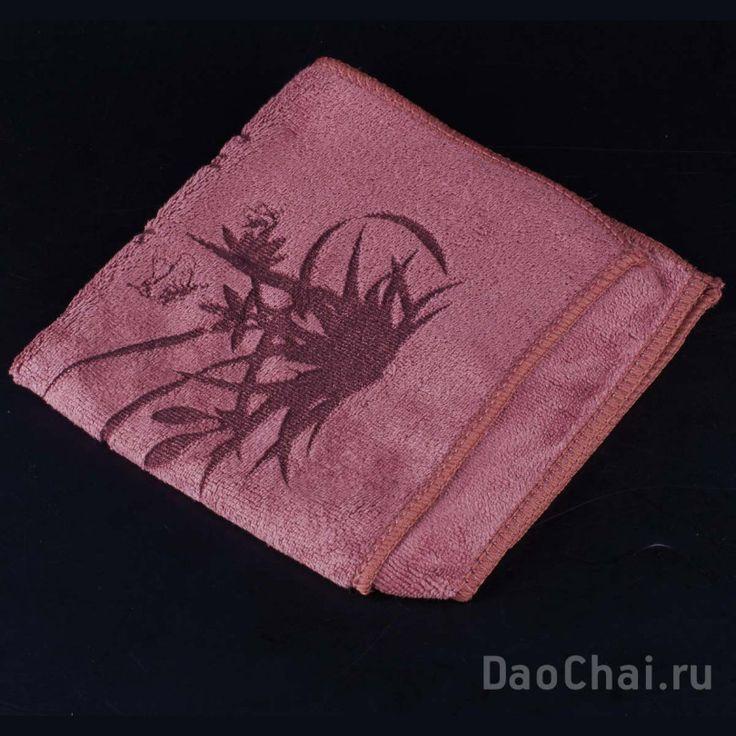 Полотенце для чайной церемонии Чабу Орхидея (коричневое, 30х30см) купить в…