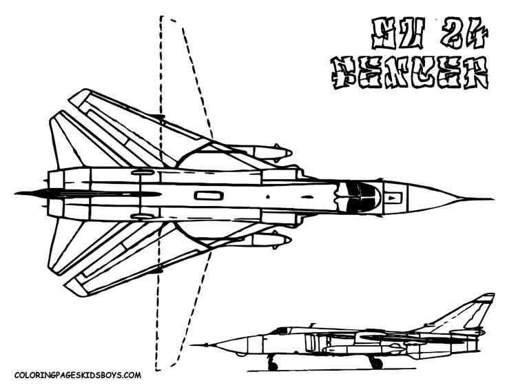 Printable Coloring Book Military Airplane Coloring Fighter