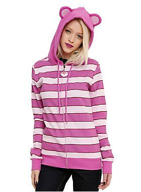 <p>He's a cat. A <em>Cheshire </em>Cat. Get mischievous and mysterious in this costume hoodie from Disney's <em>Alice In Wonderland</em>. It's got pink and purple stripes, ears on the hood and a rubber face zipper pull. All you gotta do is practice that smile. </p>  <ul> 	<li>60% cotton; 40% polyester</li> 	<li>Wash cold; dry low</li> 	<li>Imported</li> 	<li>Listed in junior sizes</li> </ul>