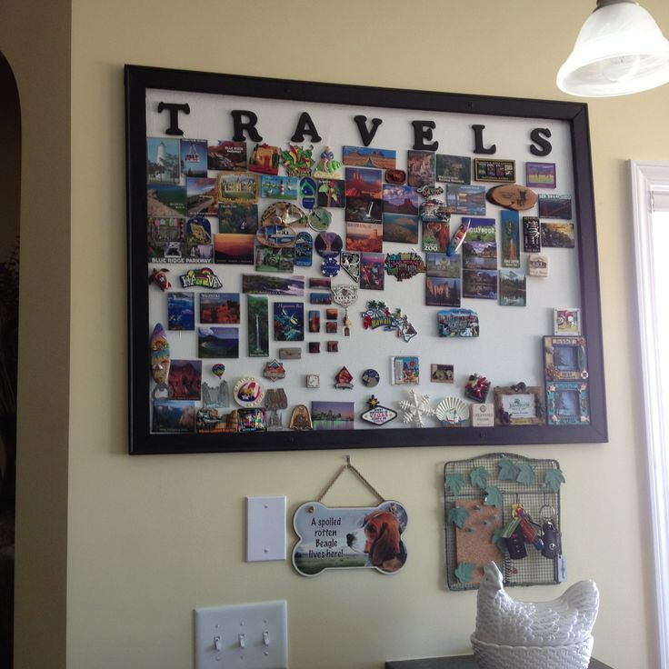 """""""Souvenir magnet display board"""" - Collection of magnets from places visited around the world :D Can't wait to start!! More"""