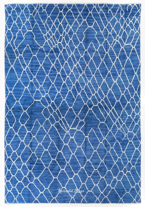Indigo Blue Moroccan Beni Ourain Berber Design Rug 100 Wool Soft Comfy Hand Knotted Carpet Custom O Blue Carpet Deeper Shade Of Blue Beach Inspired Decor