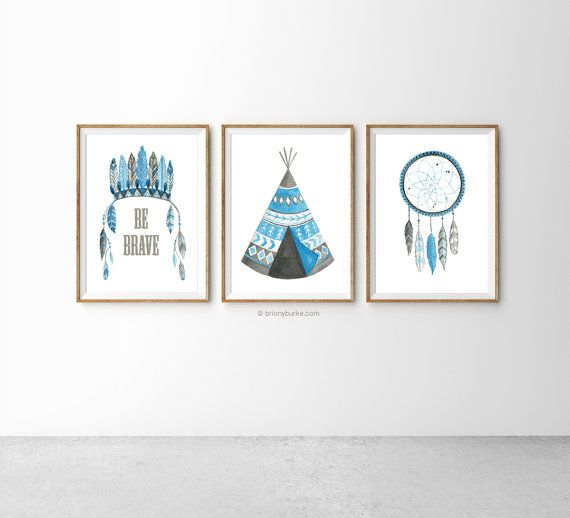 Native American Set of 3 Prints  Be Brave Quote  by BrionyBurke