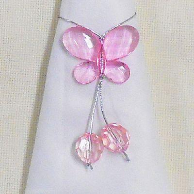 Porta Guardanapo com Borboleta Cristal Rosa $1.50