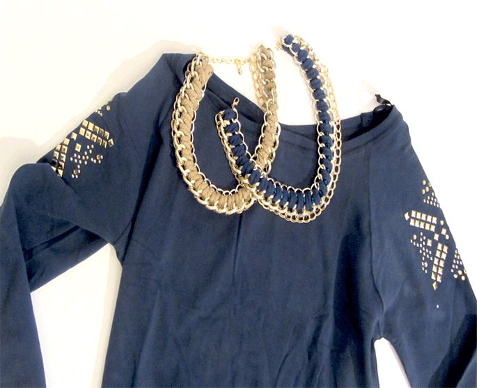 sweatshirt and statement necklaces  www.hipandspoiled.com