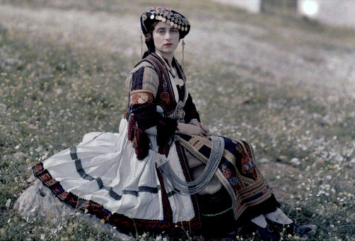 Color photography of 1920's Greek peasant dress from Thessaly