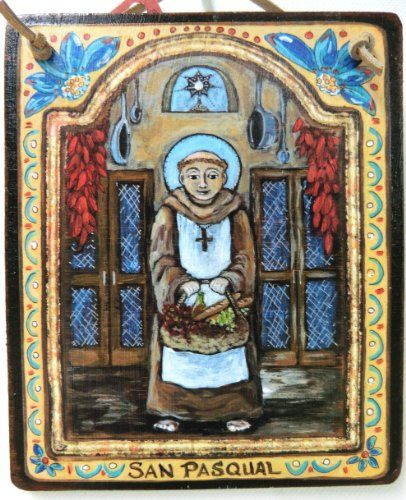 Kitchen saint San Pasqual Retablo Christmas gift for all things foodie chef baker Mom Cook patron saint of chefs 5 x 6 inch yellow blue red icon