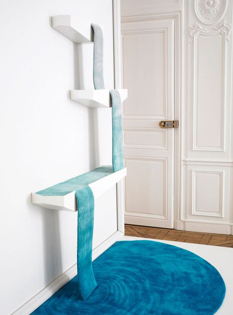 """""""Cascade rug-originally intended to show how carpet can move gracefully from wall to floor, we think it would be a great idea to make cat climbing shelves a little more aesthetic!"""""""