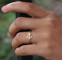FREE Anchor Ring - 7.5 / 14K Gold Plated
