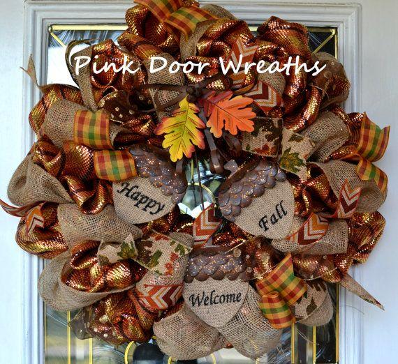 Acorn Wreath Fall Thanksgiving Welcome Door Wreaths HAPPY FALL yellow burlap…