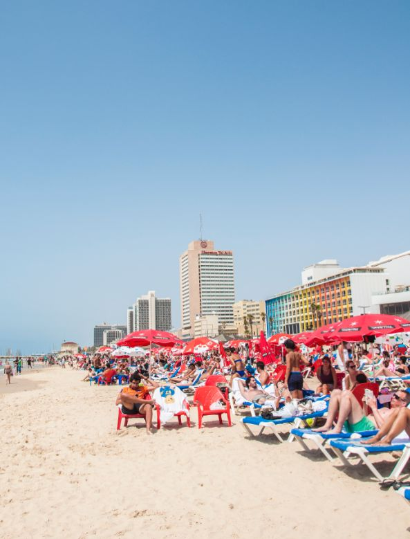 Sunbathers in Tel Aviv. #summer