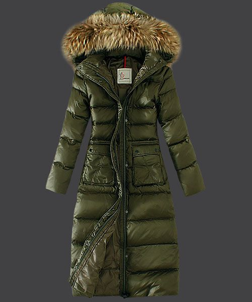 2013 New! Moncler Down Coat Featured Women Slim Windproof Army Green