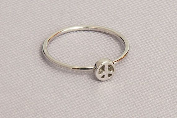Silver peace sign Tiny peace sign 925 sterling by Wavejewels