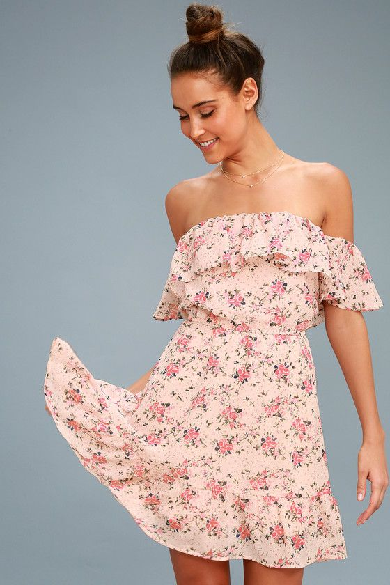 b27a5586571a We re all swooning for the Black Swan Ellison Light Blush Floral Print Off -the-Shoulder Dress! A sweet floral print decorates a ruffled off-the- shoulder ...