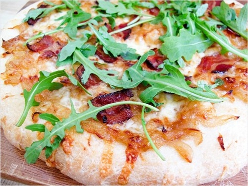 Alsatian Pizza With Bacon And Caramelized Onions Recipe — Dishmaps