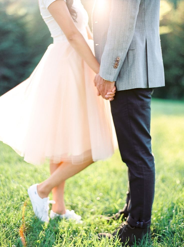 Toronto Ontario Canada Engagement Session | Fine Art Film Wedding Photographer | Scarborough Bluffs | Photographs by Caileigh | Peach Tulle | White Sneakers