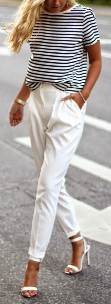 Pinterest: @eighthhorcruxx. Stripy top, white trousers and heels.
