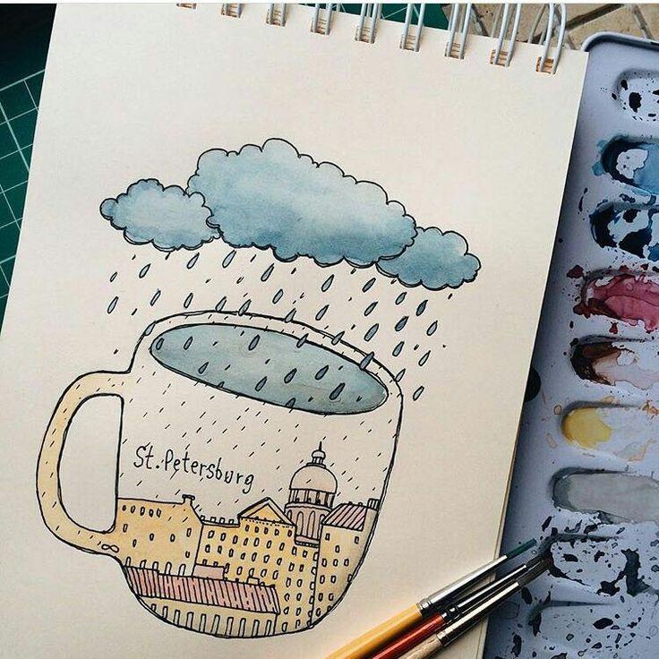 Картинки для скетчбука для срисовки простые легкие акварелью
