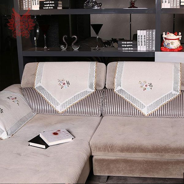Free shipping white/beige sofa backrest towel floral jacquard sofa armrest towel with lace patchwork for sofa decoration SP1497 #Affiliate