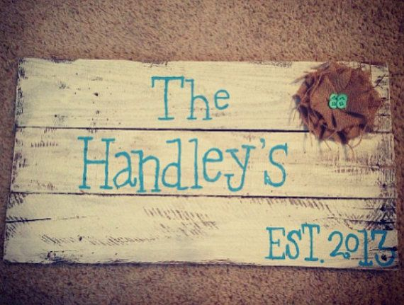 Monogram Pallet sign by paintedhartstrings on Etsy, $35.00