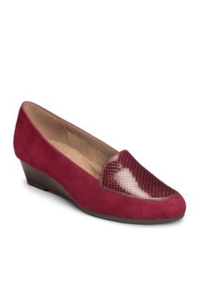 Aerosoles Women's Lovely Tailored Wedge Loafer - Wine Leather Snake Print - 8.5M