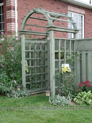 Arched Arbor at gate plans.  Possible transition from patio to yard with lilacs on either side to gate.  Grow gourdes or morning glory up sides.