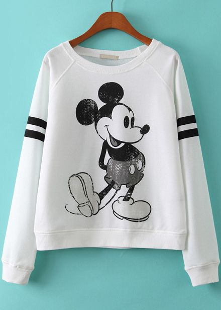 White Long Sleeve Mickey Print Loose Sweatshirt