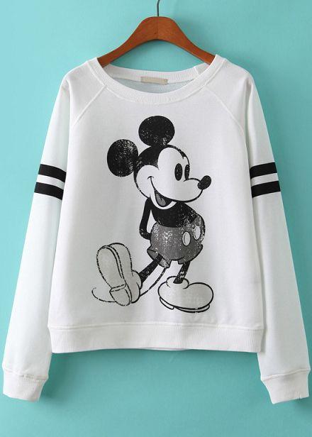 White Long Sleeve Mickey Print Loose Sweatshirt
