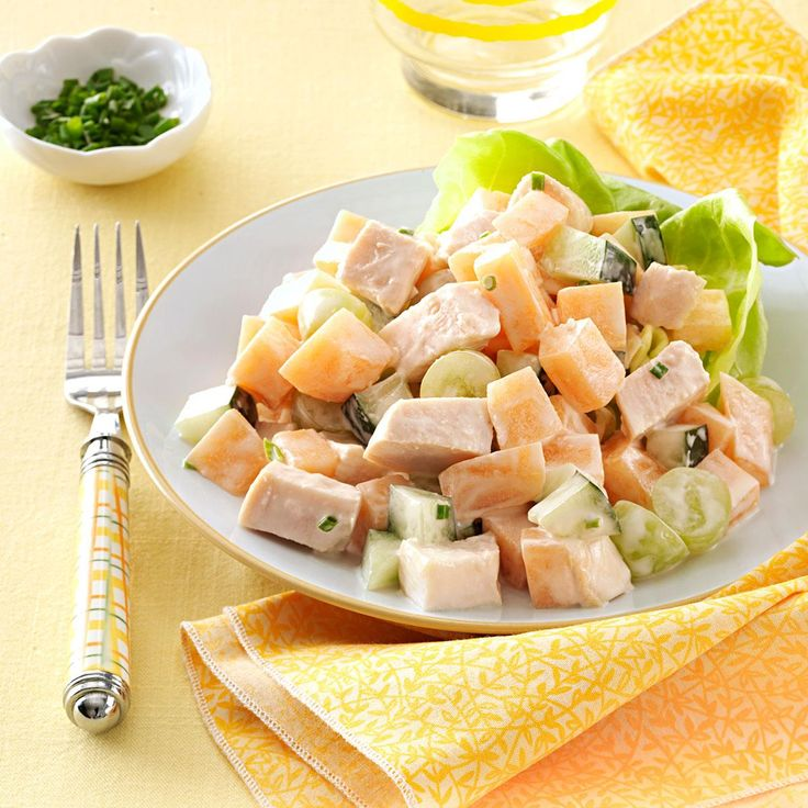 Cantaloupe Chicken Salad with Yogurt Chive Dressing Recipe -It's hard to find recipes that four children and my husband love. That's why this is so special to our family. —Elizabeth King, Duluth, Minnesota