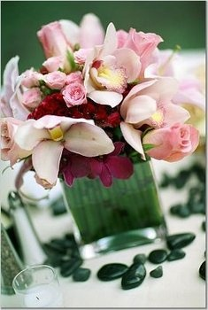 Wedding, Flowers, Pink, Centerpiece - Photo by Sun-dance Photography