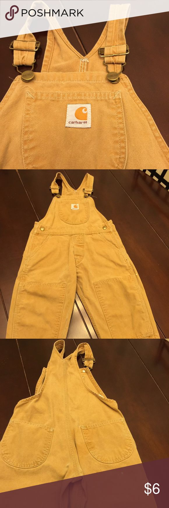 Carhartt bib overalls 3T Carhartt bib overalls.  Well loved still has a lot of life left for your little country boy/gal. Priced accordingly Carhartt Jackets & Coats